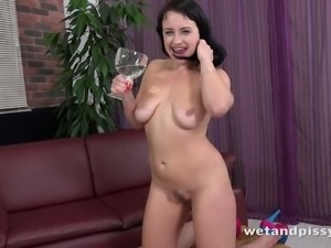 Hot slut Tanika makes herself a glass of pee before riding her gigantic dildo