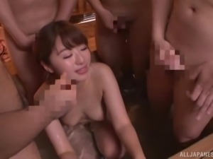 Japanese woman with an amazing body makes cocks stiff