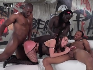 Gorgeous brunette Henessy ravished during an interracial foursome