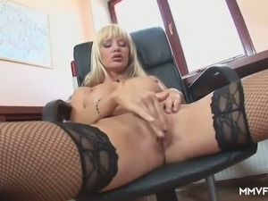 Lusty office secretary Natalli Di Angelo goes solo and rubs her clit