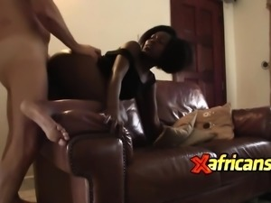 African hottie banged on couch