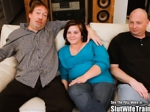 Chubby Brunette Wife Threesome Fuck