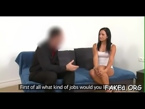 Moist bawdy cleft of a fake agent gets nailed