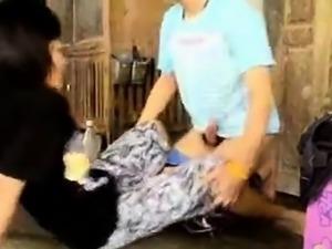 Asian couple fucking on the floor