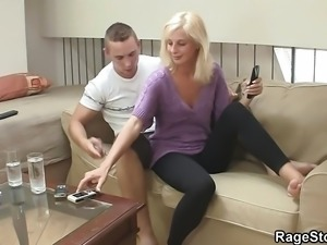 Crying blonde bitch takes rough cunt drilling