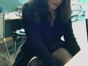 Lewd amateur dark haired gal was kinda masturbating in library