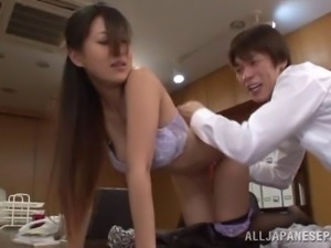 Luscious Japanese babe in a hot bra gets fingered then pounded hardcore in...