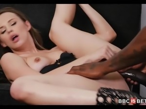 Beautiful Petite Frame White Girl Takes On A Big Black Cock