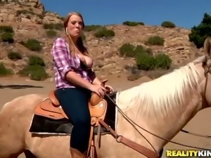 Blonde girl with pigtails gets fucked rough in the mountains