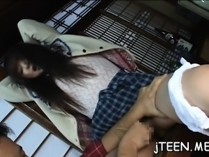 Gorgeous schoolgirl gets tied up and face hole drilled hard