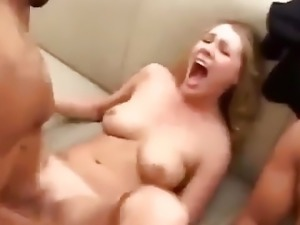 dirty talking white girl plays with 2 BBC