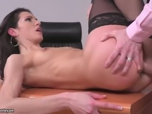 linda moretti wants her handsome boss fuck her in the ass right in the office