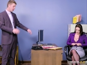 Angela White gagged while being fucked in a boss' office