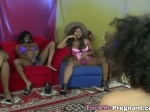Pregnant ebony babes are moaning during a steamy lesbian orgy