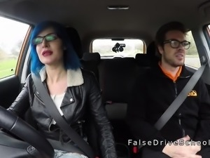 Tattooed busty driving student gets anal
