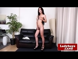 Bigass ladyboy spreads her tight asshole