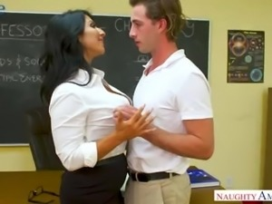 Sweet like candy tanned Raven Hart rides her student's dick on top
