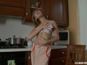 Fake tits Aina masturbating lovely in the kitchen