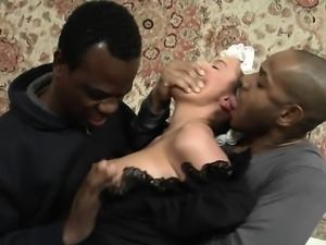 Anal action between an ebony hottie a big black cock