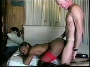 Black slut in red stockings rammed by an old white dude