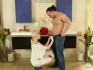 Nice looking blond head helps dude out to relax by teasing his strong cock