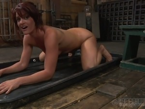 Wanton brunette doxy gets her slack tits and ruined snatch vacuumed