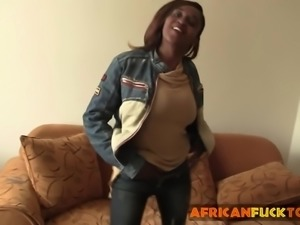 Busty African dancer fucked on the couch