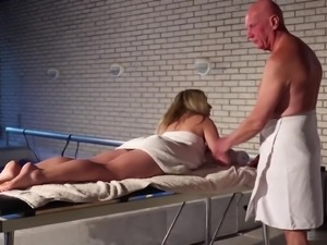 Hot blonde Daniella Margot just started working as a massage