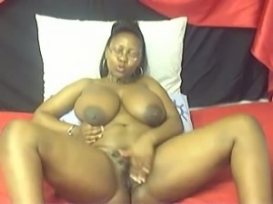Nasty fat ebony chick shows off her curves and masturbates