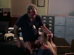 Desirable girl giving head in the office and getting banged doggy style