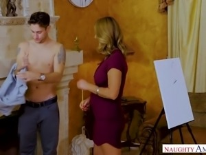 Tanned mature Brenda James gets intimate with one young dude