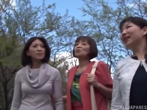 Brilliant threesome game for three Japanese mature women