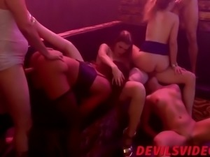 good looking skanks have one steamy interracial orgy party