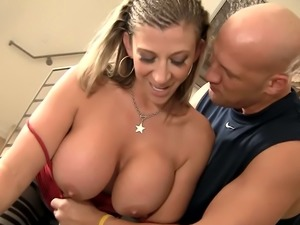 Extremely bosomy beauty Sara Jay finds it awesome to suck her coach's cock