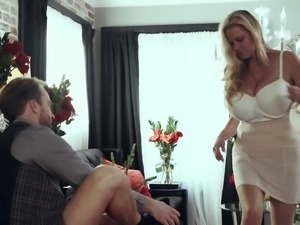 Kelly Madison seduced by a hot fellow for a quick shag