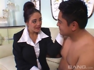 A mature maid cleans the house then lets her younger boss bang her