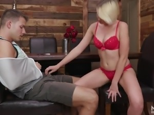 Pretty romantic blonde babe in red stuff gives such a really great BJ