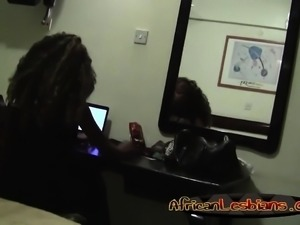 African lesbians Yvonneand Simone get horny in the bedroom.