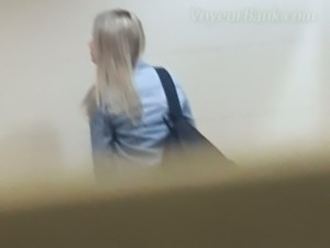 Hot white blonde teen spied in the public restroom and filmed
