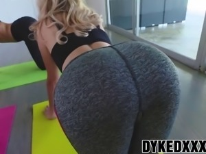 attractive lesbian babes arya and nina bang after yoga class