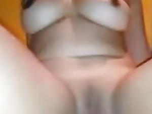Chubby girlfriend riding cock