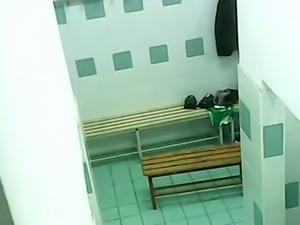 Hidden cam captures random women naked in public shower