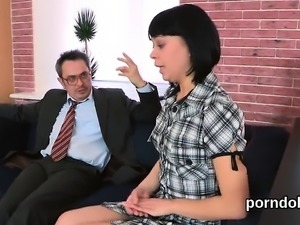 Sultry bookworm is seduced and pounded by her older lecturer