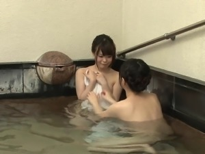 Cute Japanese girls are cutious about a man's pulsating dick