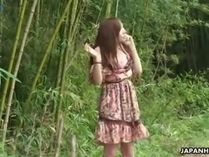 Really cute Japanese girlie Kaoru Sakaki flashes tits and works on dick