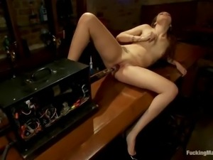 gorgeous babe's nailed by a machine
