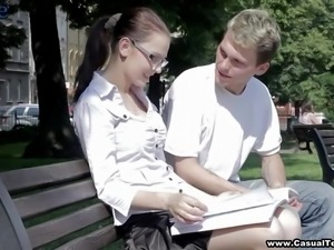 Buxom girl Lucie gets disturbed from reading and has to give a handjob