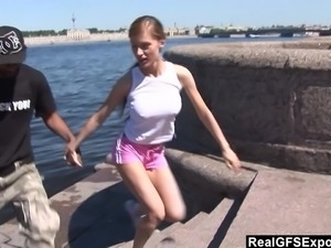 Russian blonde Olga meets BBC while jogging