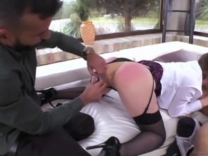 Pounding slutty Danielle Soul from both sides giving her good time