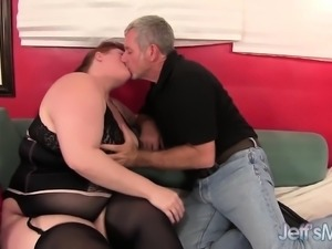 Fat redhead plumper blows on a cock and then fucks in a